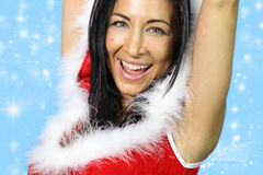 Santa claus. Beautiful girl wearing santa claus clothes royalty free stock photography