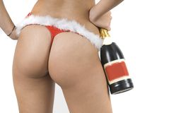 Sexy Santa Claus bottom with champagne Royalty Free Stock Image