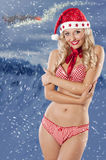 Sexy santa claus girl on christmas background Stock Photography