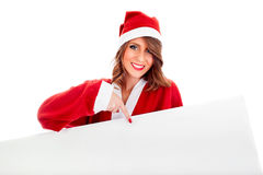 Sexy Santa Claus Wman With White Billboard Stock Photography