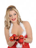 Sexy santa clause woman in party red clothes Stock Photo
