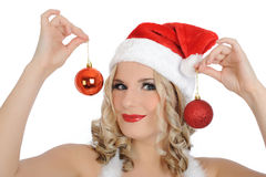 Sexy santa clause woman in party red clothes Stock Image