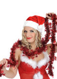 Sexy santa clause woman in party red clothes Royalty Free Stock Photos