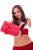 Sexy santa die verrassing voor iedereen maakt Royalty-vrije Stock Foto's