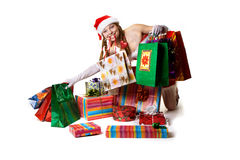 Sexy Santa with gifts Royalty Free Stock Images