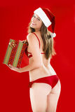 Sexy Santa Girl. With Christmas present Royalty Free Stock Image