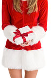 Sexy santa girl holding gift Royalty Free Stock Images