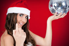 Sexy santa girl inviting to party. Sexy chrismtas woman inviting you to join the party Stock Image