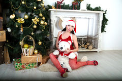 Sexy Santa Girl. Young beautiful girl lady woman model lover spectacular Snow Maiden. Light background Christmas, new year holiday presents teddy bear. Chic look Stock Photography