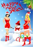 Santa girls. (Vector) stock photo