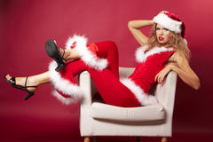 Sexy santa helper Royalty Free Stock Photos