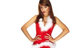 Sexy santa helper. On white background Royalty Free Stock Image