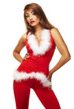 Sexy santa helper. On white background Stock Photo