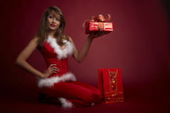 Santa helper. On red background stock photography