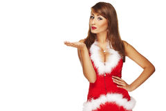 Santa helper. On white background royalty free stock photos