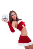 Santa helper. With big disco ball over white royalty free stock photos