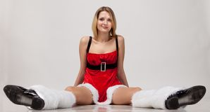 Sexy Santa helper girl Stock Photos