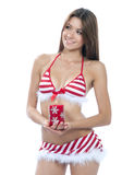 Sexy santa helper girl in red stripped bikini Stock Photo