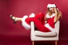 Santa helper. On red background stock images
