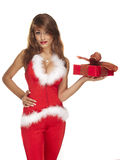 Sexy santa helper on white Royalty Free Stock Photos
