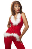 Sexy santa helper on white Royalty Free Stock Images