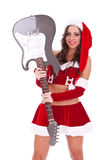 Santa holding an electric guitar. Near her head, on white background royalty free stock photo