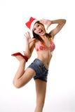 Sexy santa met omhoog been Stock Foto