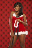 Sexy Santa Model In Red Royalty Free Stock Photography