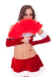 Sexy santa with red feather fan Stock Photo