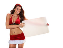 Sexy Santa's Helper holding blank cardboard Royalty Free Stock Image