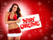 Sexy Santa's Helper Holiday postcard Stock Images