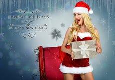 Sexy Santa`s Helper postcard wallpaper template Royalty Free Stock Image