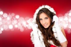 Sexy santa  on shiny background Royalty Free Stock Photography