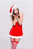 Sexy santa woman blow Royalty Free Stock Photo