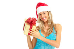 Sexy santa woman  with christmas gift Royalty Free Stock Image