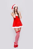 Sexy santa woman hear gossip Royalty Free Stock Photo