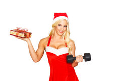 Sexy santa woman holding with dumbbell and gift Royalty Free Stock Photo