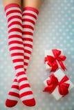Sexy Santa woman legs Royalty Free Stock Photography