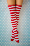 Sexy Santa woman legs Royalty Free Stock Images