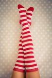 Sexy Santa woman legs Stock Photography