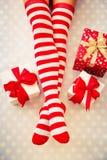 Sexy Santa woman legs Stock Image
