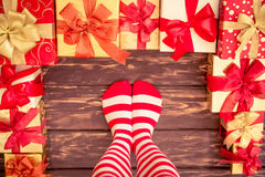 Sexy Santa woman legs Royalty Free Stock Images
