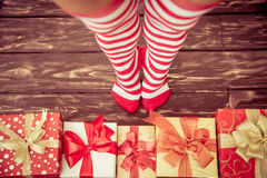 Sexy Santa woman legs Royalty Free Stock Image