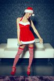 Sexy santa woman posing indoor with whip at Christmas. Bdsm Royalty Free Stock Images
