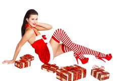 Sexy santa woman sit Stock Photos
