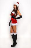 Santas Helper girl great image for creating Holiday Greeting postcards Stock Photos