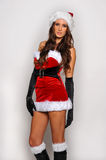 Sexy Santas Helper girl great image for creating Holiday Greeting postcards Stock Photos