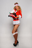 Sexy Santas Helper girl great image for creating Holiday Greeting postcards Royalty Free Stock Photo