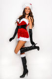 Sexy Santas Helper girl great image for creating Holiday Greeting postcards Royalty Free Stock Photography
