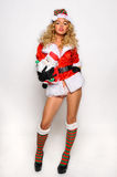 Sexy Santas Helper girl great image for creating Holiday Greeting postcards Royalty Free Stock Photos